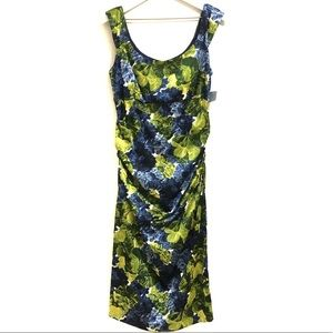 London Times Floral Sheath Ruched Cocktail Dress